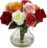 Nearly Natural Assorted Rose Arrangement with Vase