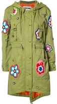 Moschino flower patch fishtail jacket - women - Cotton/Polyamide/Rayon - 40