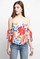Astr Havana Hibiscus Tie Cold Shoulder Top