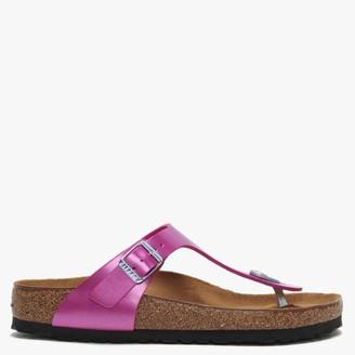 Birkenstock Gizeh Electric Metallic Magenta Birko-Flor Toe Post Sandals