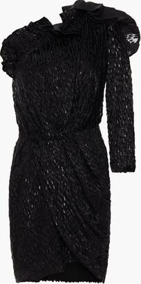 IRO One-shoulder Wrap-effect Ruffled Devore-velvet Georgette Mini Dress