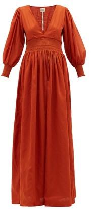 ESCVDO Ponte V-neck Shirred Cotton Maxi Dress - Red