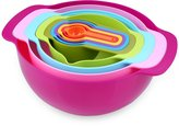 Nuovoware Mixing Bowls Set, Premium 10 PCS Colorful Plastic Versitile Mixing Bowls with Handles, Including Container, Colander, Sieve and Measuring Cups, Assorted Colors