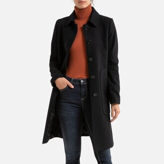 Benetton Mid-Length Buttoned Coat with Pockets in Wool Mix