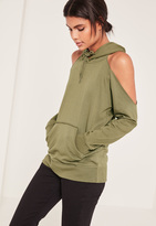 Missguided Khaki Cold Shoulder Hoodie