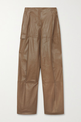Nina Ricci Leather Straight-leg Pants - Brown