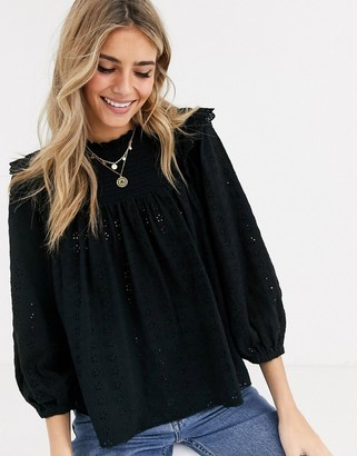 ASOS DESIGN high neck swing broiderie top with ruffle detail in black