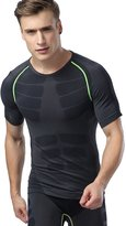 Deercon Men's Fitness Workout Compression short sleeve t shirts Sports Baselayer Underwear Running(Green Line)