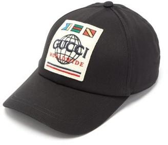 Gucci Worldwide-logo Cotton-canvas Cap - Mens - Black