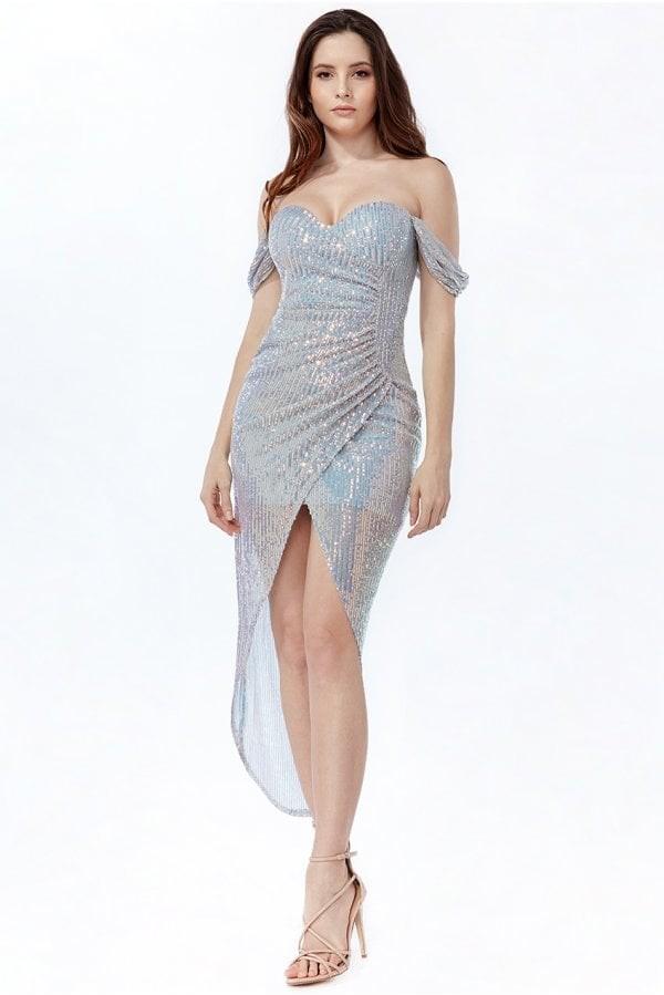 Goddiva Off The Shoulder Sequin High Low Maxi Dress - Silver