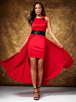 New York & Co. Pleated Overlay Halter Dress
