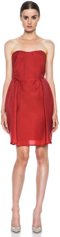 Carven Wool Gazar Sweetheart Dress in Strawberry