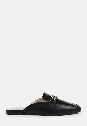 Missguided Black Faux Leather Gold Look Hoop Flat Mules