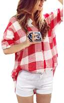 Bling Stars Women's White Plaid Blouses Check Botton Down Shirt Pocket Tops