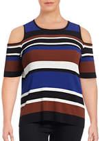 I.N.C International Concepts Plus Striped Cold Shoulder Sweater