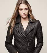 Reiss AMIE Quilted Biker Jacket