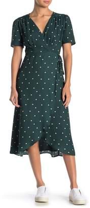 Everly Polka Dot Elbow Sleeve Wrap Dress
