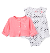 U.S. Polo Assn. White & Black Dot Skirted Bodysuit & Pink Cardigan - Infant