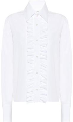 Saint Laurent Ruffled cotton-poplin shirt