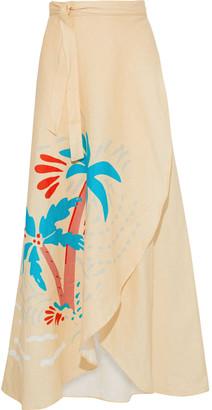 Onia Amanda Printed Linen-gauze Maxi Wrap Skirt