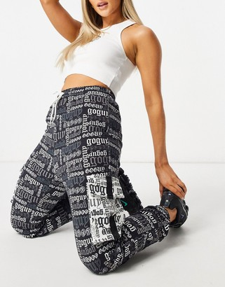 Go Guy GOGUY cropped relaxed trackies in black overall graphic co