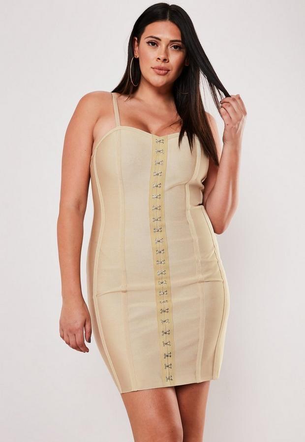 Plus Size Premium Champagne Bandage Mini Dress