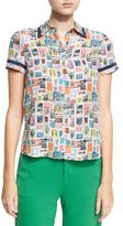 Alice + Olivia Oswald Short-Sleeve Button-Down Top, Multi