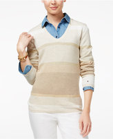 Tommy Hilfiger Striped V-Neck Sweater, Only at Macy's