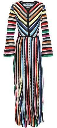 Mary Katrantzou Pleated Metallic Intarsia-knit Maxi Dress