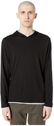 Vince Double Layer Contrast Hoodie (Black/Heather Grey) Men's Clothing