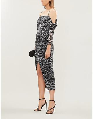 Rasario Off-the-shoulder leopard-print crepe midi dress
