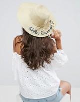 Boardwalk Boardmans Hello Summer Slogan Straw Beach Hat