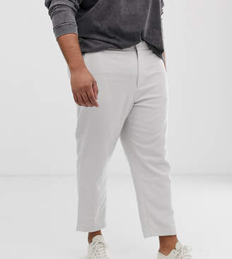 Asos Design DESIGN Plus tapered smart trouser with half elasticated waist in textured off white