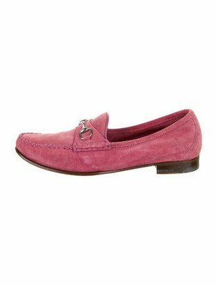 Gucci Horsebit Accent Suede Loafers Purple