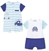 Mayoral Pack of 2 Pale Blue Car Applique Rompers