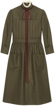 Gucci Wool flannel dress with bow