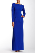 JS Boutique Stretch Crepe Crisscross Long Sleeve Gown