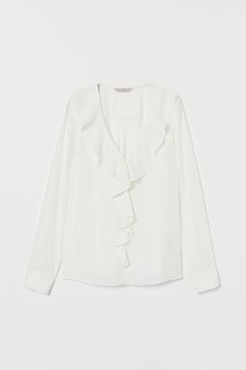 H&M Ruffled V-neck Blouse - White