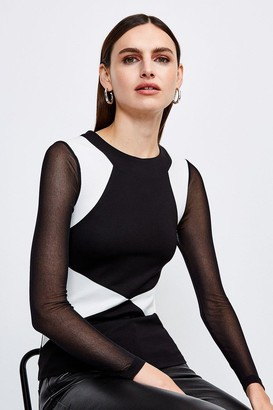 Karen Millen Long Sleeve Colour Block Top