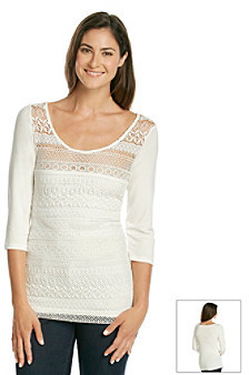 Skyes The Limit Skye's The Limit® Lace Overlay Tiered Knit Top