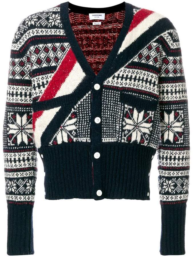 Thom Browne Winter Fair Isle Tweed V-Neck Cardigan