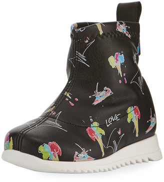 Giuseppe Zanotti Candy Printed Leather High-Top Sneakers, Toddler
