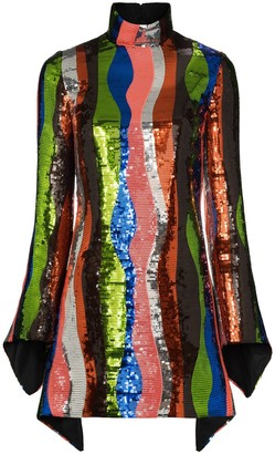 Halpern Squiggle Stripe Sequin Mini Dress