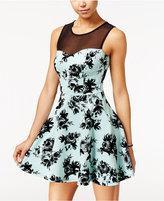 Trixxi Juniors' Illusion Velvet-Print Fit & Flare Dress