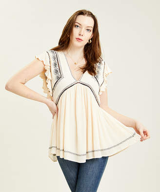 Free People Women's Tunics IVORY - Ivory Embroidered Falling Water Flutter-Sleeve Tunic - Women