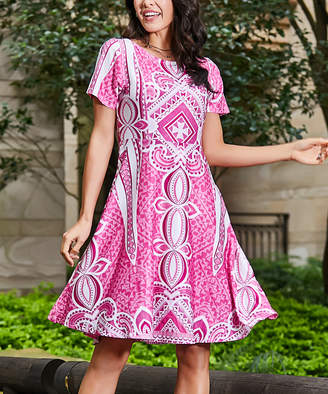 Reborn Collection Women's Casual Dresses Pink - Pink Abstract Short-Sleeve Empire-Waist Dress - Women