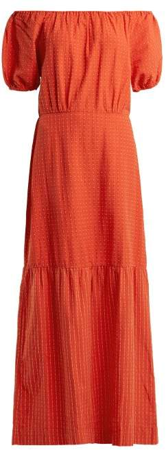 Ace&Jig Quince Off The Shoulder Cotton Dress - Womens - Orange Multi