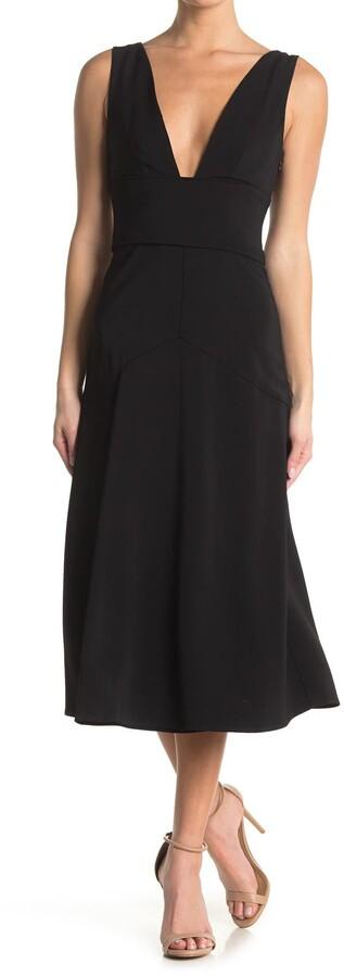 Reiss Adele Plunge Neck Midi Dress