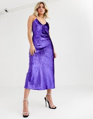 Vestire natural born killers velvet slip midi dress-Purple