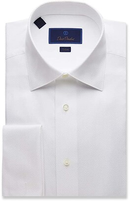 David Donahue Trim Fit Dobby Weave French Cuff Formal Shirt (White) Men's Clothing